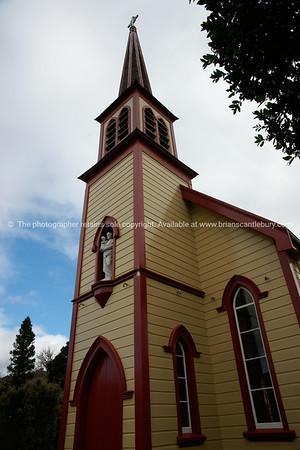 St Joseph's historic Catholic church, Jerusalem, New Zealand. New Zealand photographic stock images.