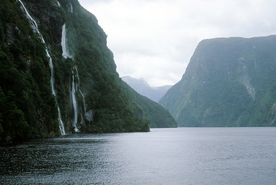 Waterfall cascading into Doubtful Sound, South Island