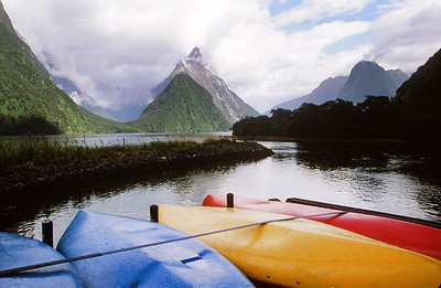 Kayaks, Milford Sound with Mitre Peak, South Island