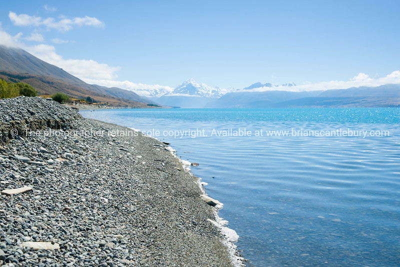 Stony shore Lake Pukaki, South Island NZ