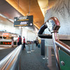 Auckland Airport  handle of trolley against defocused background