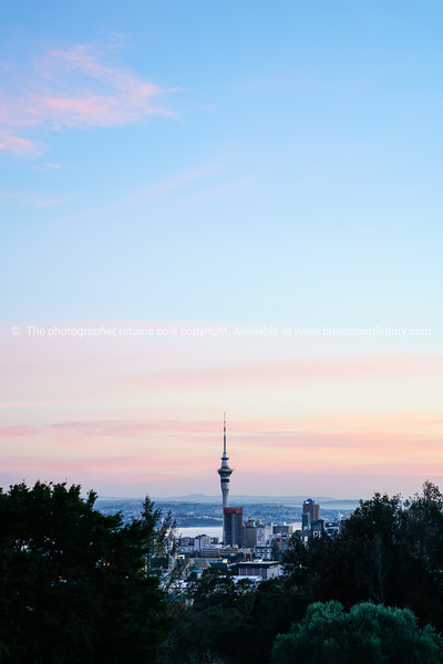 Auckland city Skytower from top Mount Eden at sunrise