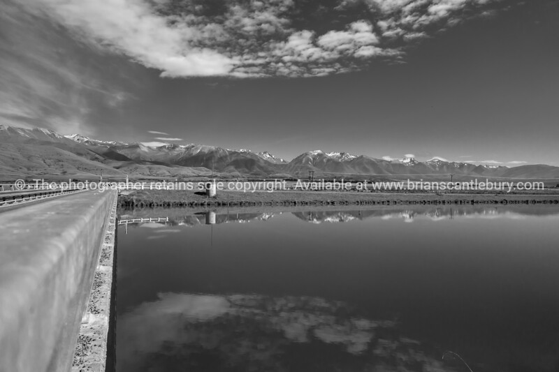 Ohau Canal east landscape towards Southern Alps