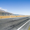 Highway to mount Cook. Aoraki-Mt Cook, plains and range.
