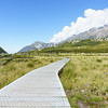 Great New Zealand Walks, boardwalk on the Aoraki-Mount Cook National Park's Hooker Track.