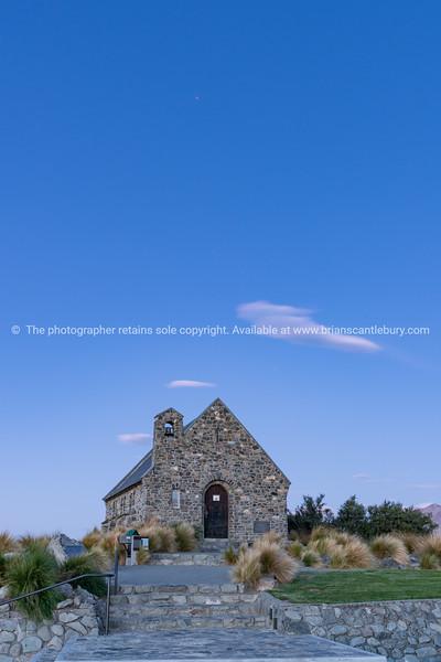 Historic Church of Good Sheppard famouns tourist destination on shore of Lake Tekapo at twilight