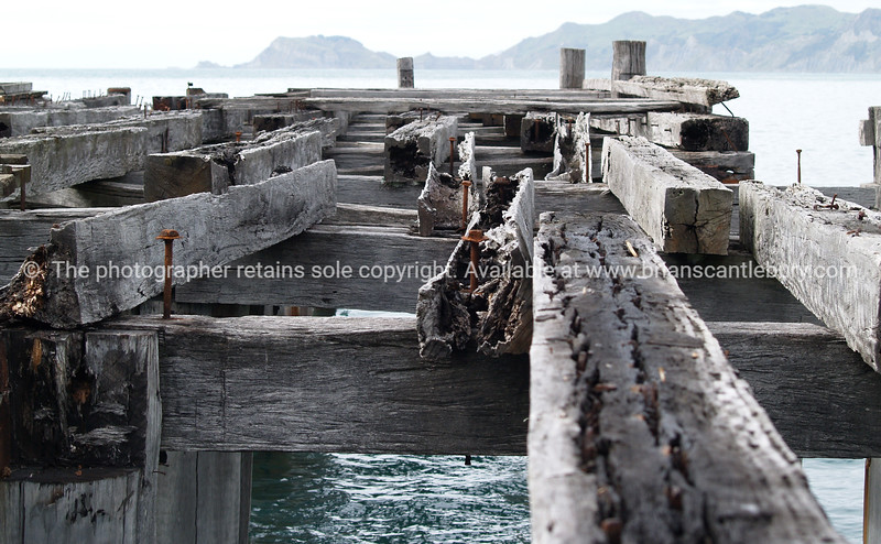 Tokomaru Bay: old disused wharf remains. New Zealand images.