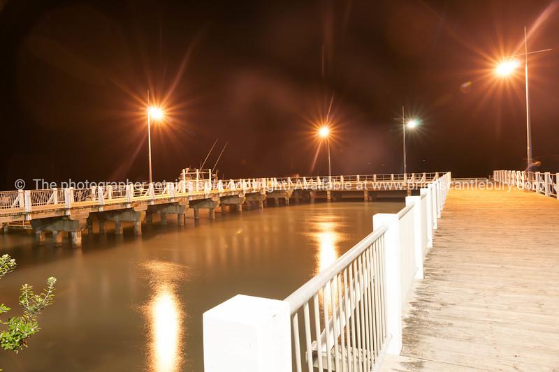 Whakatane, New Zealand, Ohope Warf at night-