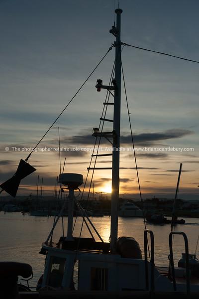 Napier waterfront, Westshore, Ahuriri, fishing boats rigging silhouette.