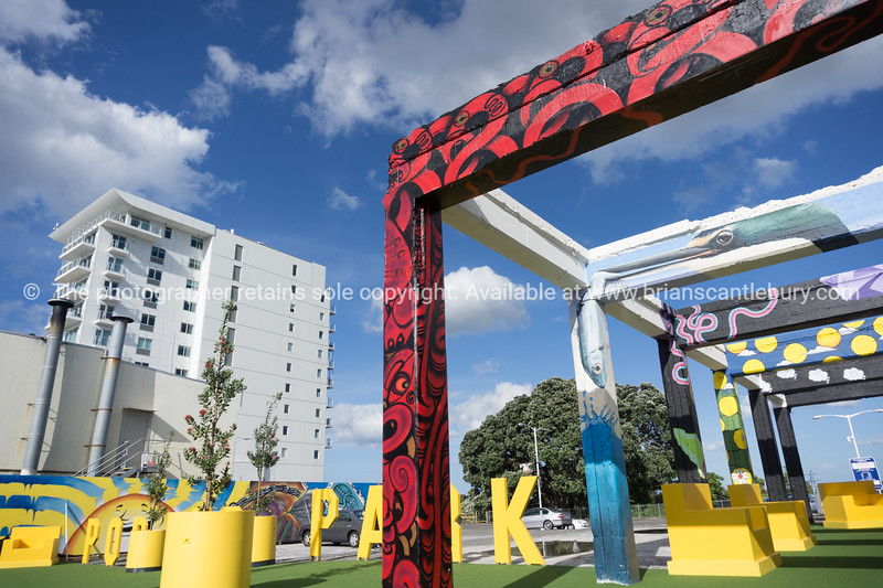 Tauranga CBD Pop Up Park on Devonport Road with Devonport Towers arpartment and hotel building in background.