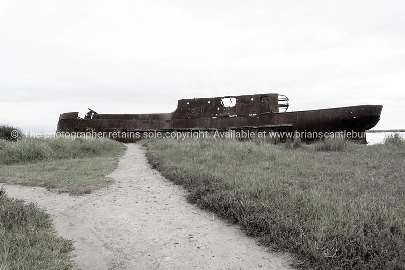 Scuttled rusting hulk of old ship Waverley