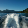 View of Marlborough Sounds over boats spray. New Zealand images.