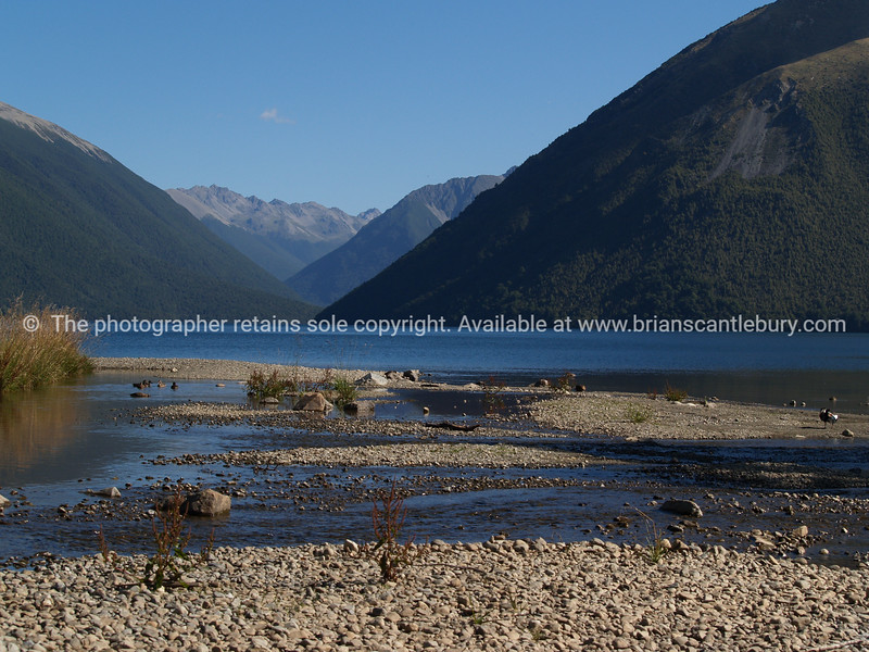 Scenic lake Rotoiti, deep in the mountains. New Zealand images.