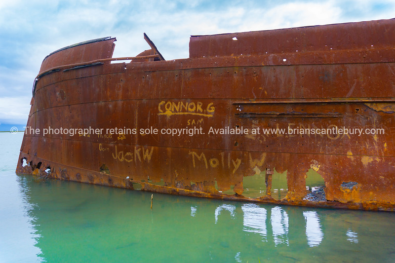 Scuttled rusting hulk of old ship Waverley