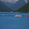 Kayakers and skiers on Lake Rotoiti