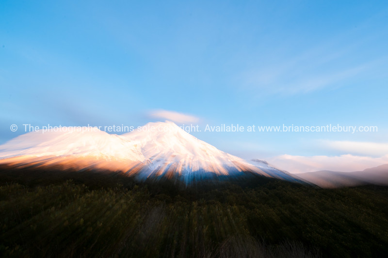 Mount Egmont abstract as the sun rises.