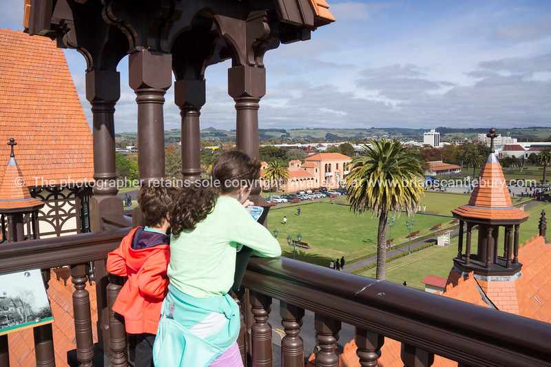 Looking over Rotorua's Government Gardens from the lookout atop the old Bath House building.