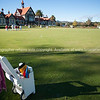Croquet lawn and trolley in front of Rotorua Bath House and Museum