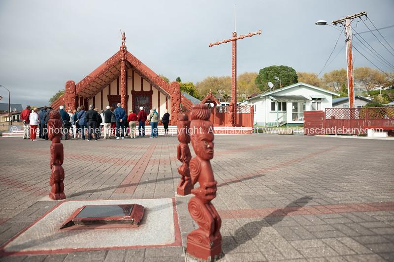 Ohinemutu Marae with group of tourists receiving the introduction. Rotorua