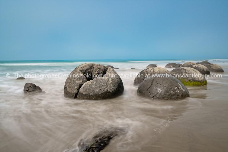 Moeraki Boulders on Koekohe Beach natural wonder and tourist attraction on coastal South Island New Zealand
