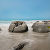 Moeraki Boulders on Koekohe Beach natural wonder and tourist attraction on coastal South Island New Zealand