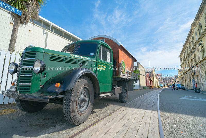 Vintage green Bedford truck Miss Purple