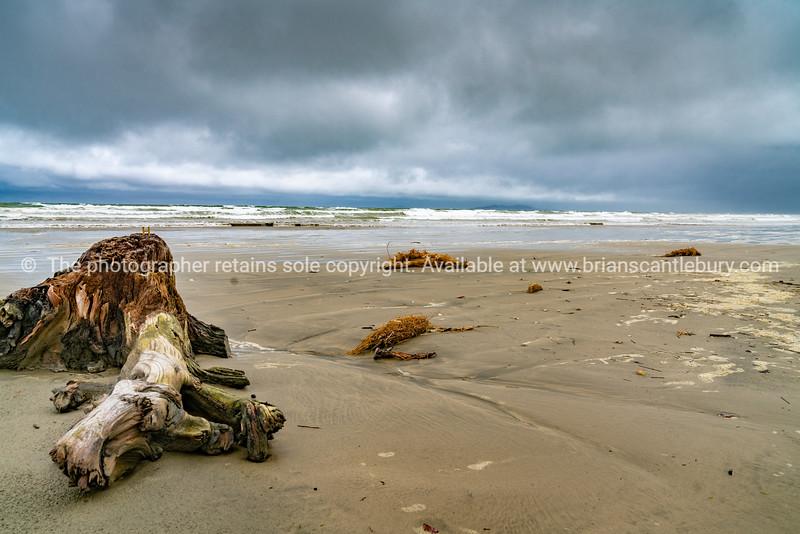 Dark overcast day at Oreti Beach