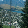 View from Bob's Peak above Queenstown with gondola wire  cable