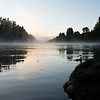 Morning mist rises from Clutha River Cromwell