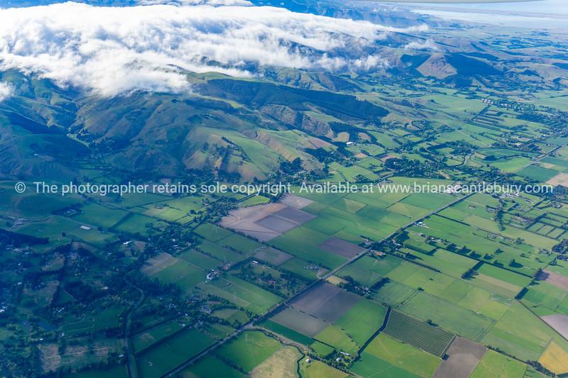 Pattered rural landscape below