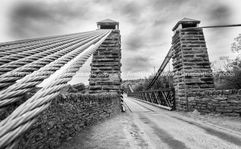 Historic bridge structure at Ophir crossing Manuherikia River in Central Otago