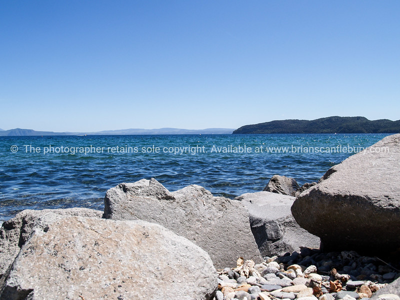 Scenic Lake Taupo from bay at Kinloch