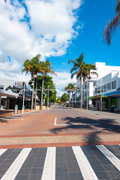 Tauranga downtown streets and buildings during covid-19 state of emergency