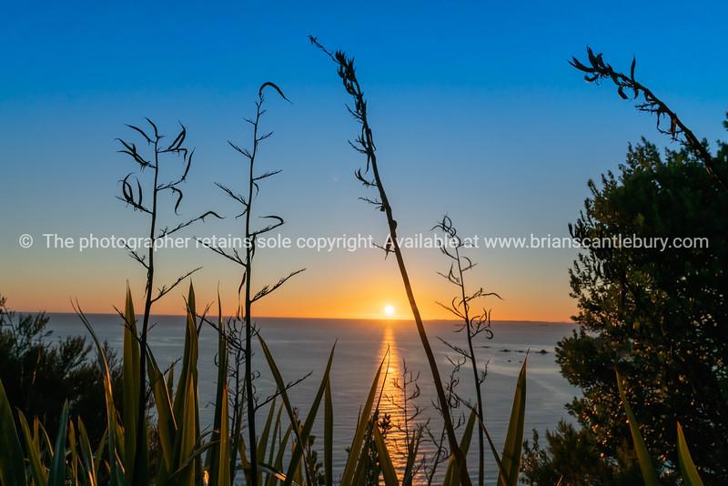 Landscape silhouette at sunrise