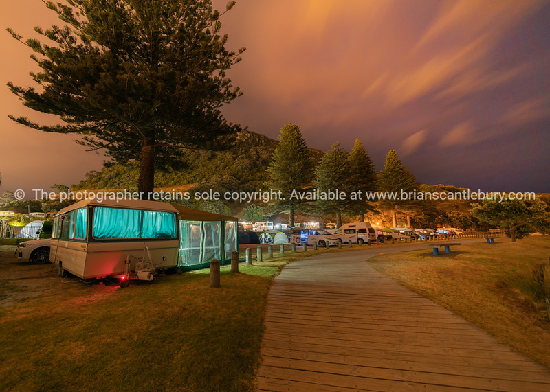 Caravans and campers near the base track access walkway
