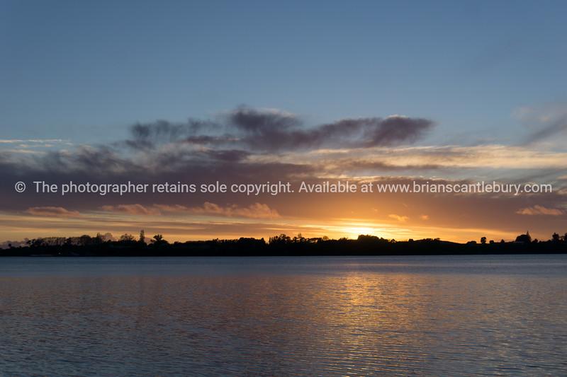 Golden Tauranga sunset over bay