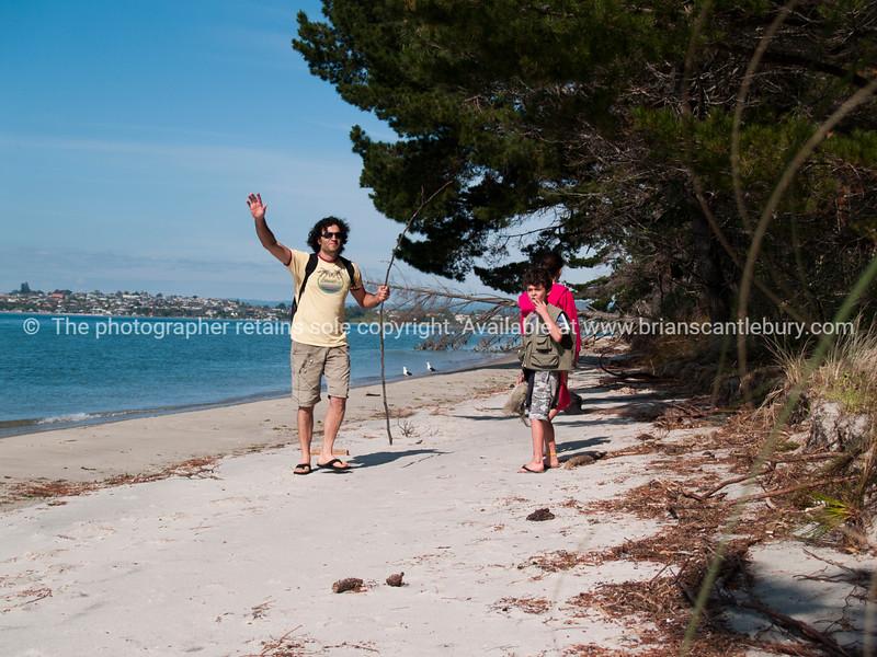 Family fun on Matakana Island.