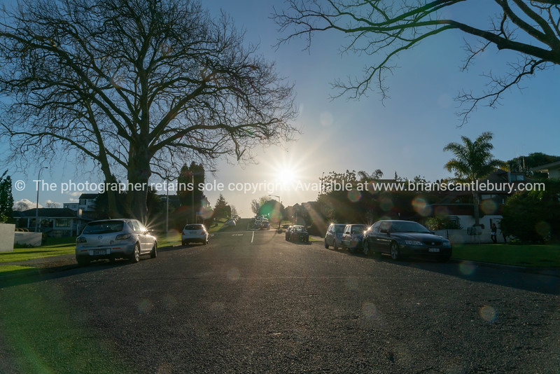 Sixth Avenue Tauranga street scene looking into sun