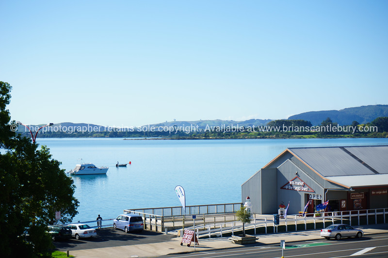 Tauranga Harbour and the Cargo Shed on waterfront.