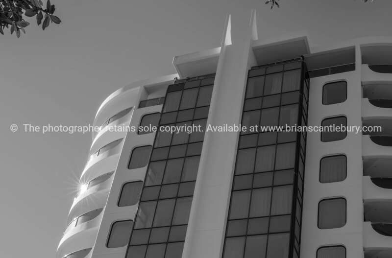 Monochrome Twin Towers Apartments on Mount Maunganui oceanside