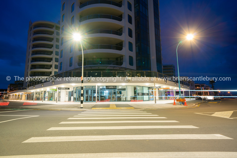 Pedestrian crossing leading to base of Oceanside Twin Towers.