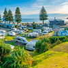 View across Mount Maunganui Beachside Holiday Park to Main Beach
