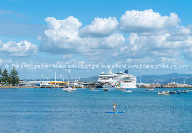 Woman paddleboards across Pilot Bay while huge cruise ship Norwegian Jewle is berthed at wharf behind.