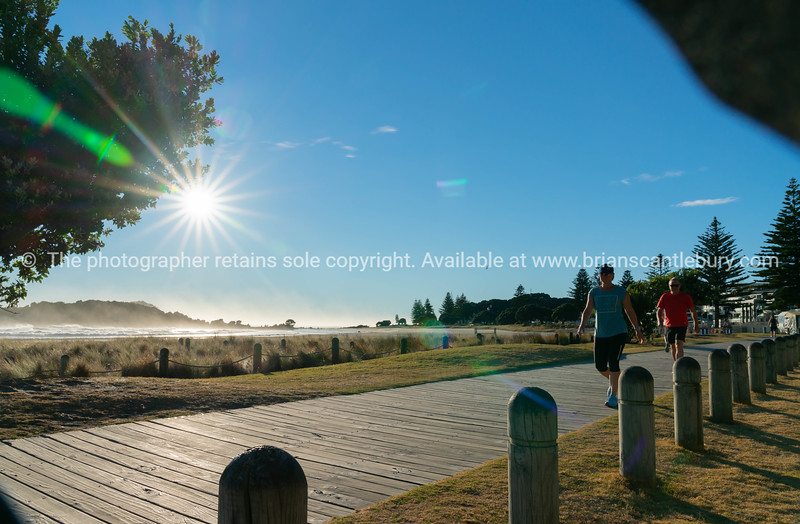 Wooden pathway along waterfront at bottom of Mount Maunganui