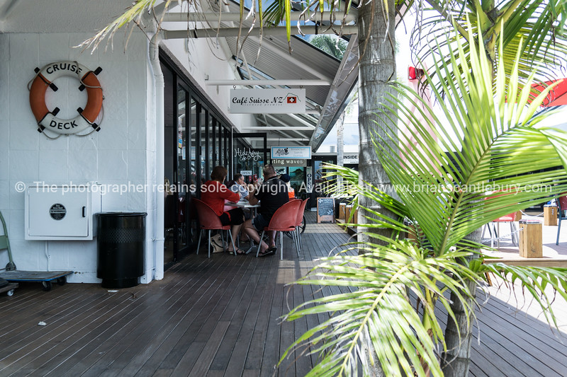 Mont Maunganui street scene. On the Cruise Deck, retail and cafe of street property.