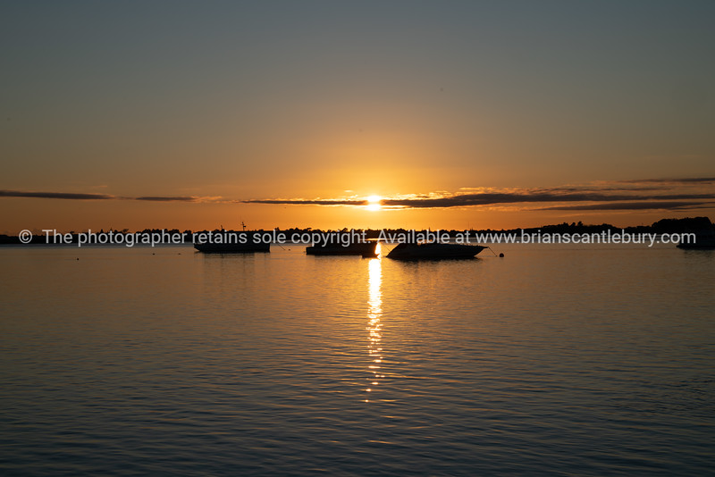 Three boats moored near horizon at sunrise over blue water of Tauranga harbour with intense golden glow on horizon.