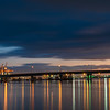 Tauranga  Harbour Bridge lights and reflections before sunrise