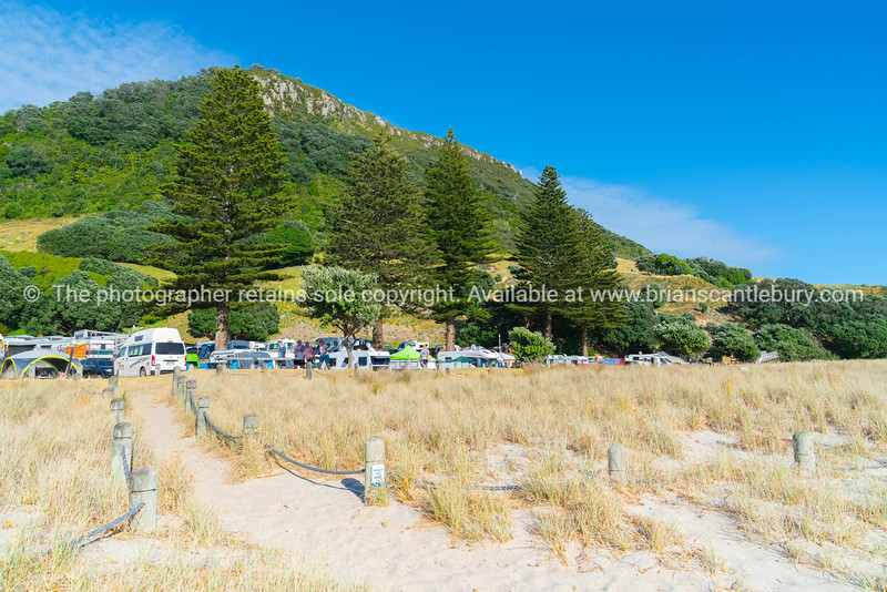 Early start to day walkers out on Mount boardwalk in front of Mount Camp and under landmark mountain,