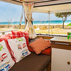 Retro styled holiday caravan at Mount Maunganui Beach