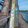 Walkway and structure Tauranga Railway Bridge with graffiti